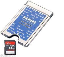 64GB Sandisk SD + SD SDHC SDXC to PCMCIA PC Card ATA Flash
