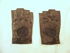 Black Leather Fingerless Motorcycle Riding Gloves- S/M  ~~USA SHIPPED~~