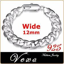 New Mens 925 Sterling Silver 12mm Bracelet Charm Bangle Solid Link Chain UK BS22