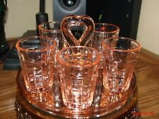 Vintage Pink Depression Glass Heart Handle Tray with Five (5) Pink Shot Glasses