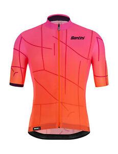 Santini Tono Puro Men's Short Sleeve Cycling Jersey in Orange/Pink
