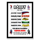 Fathers Day gift DADDY DAD STEPDAD FATHER personalised SUPER HERO A4 gloss PRINT