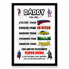 Birthday gift for Dad Daddy Father Step Dad personalised SUPER HERO A4 PRINT