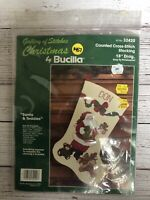 Vintage Bucilla Christmas Stocking Cross Stitch Kit Santa and Teddies 1990's