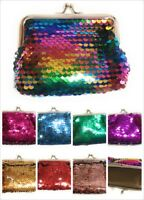Ladies Girls Reversible Sequin Coin Wallet Pouch Money Purse Card Holder Gift UK