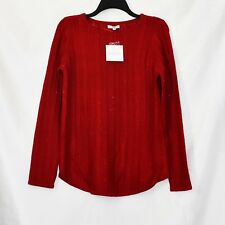 Croft & Barrow Pullover Knit Top Womens Size S Red Lurex Stretch Long Sleeve