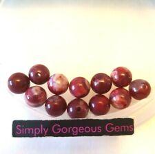 12 Stunning Round Cherry Red Fire Agate Gemstone Beads - 8 mm