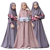 Muslim Kids Girl Prayer Long Maxi Dress Hijab Set Kaftan Arab Islam Abaya Jilbab