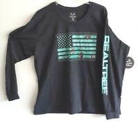 Realtree Mens/Womens Logo Long Sleeve Crew Neck T Shirt Charcoal/Green 2XL NWT