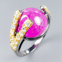 Handmade18ct+ Natural Ruby 925 Sterling Silver Ring Size 8.25/R119938