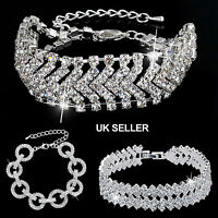 UK Silver Plated Diamante Crystal CZ/Crystal Bracelet/Bangle Wedding/Occassion