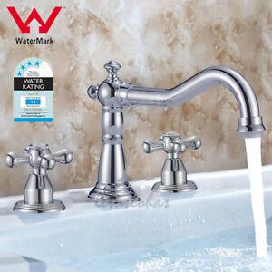 Widespread Double Cross Handle Bathroom Basin Mixer Tap Lavatory Sink Faucet NEW