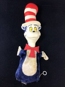 VINTAGE CAT IN THE HAT HAND PUPPET PULL STRING TALK TOY 1970 MATTEL