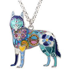 Enamel Alloy Siberian Husky Dog Necklace Pendant Choker Animal Jewelry For Women