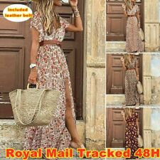 Women Beautiful Summer Floral Long Maxi Dress Ladies V Neck Boho Beach Holiday