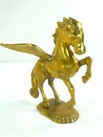Vintage Heavy Brass Jumping Pegasus Gold Statue Figurine