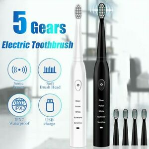 Electric Toothbrush Sonic USB Rechargeable Tooth Brush Washable Smart E Brush