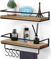 2 Pcs Wall Mounted Floating Shelves Rustic Wood Wall Storage Shelves for Bedroom