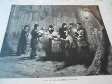 Gravure 1878 - La Nuit de Noel au Canada