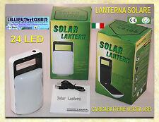 LAMPADA SOLARE 24 LED BATTERIA RICARICABILE Ni-MH CON DOPPIO PANNELLO USCITA 5V