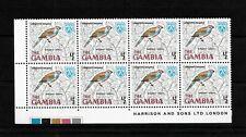 Gambia, 1966 Birds 0.5d Red-cheeked Cordon Bleu, MNH  imprint block of 8(G080)
