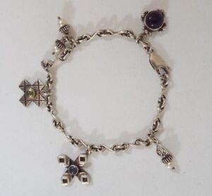 Sterling Silver Amethyst Peridot Pearl Black Stone Cross Themed 5 Charm Bracelet