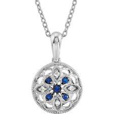 "Blue Sapphire 0.03 CTW Diamond Flower 18"" Necklace Sterling Silver"