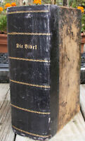 antique 1825 German family Bible heavily illustrated previous restoration