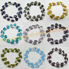 12mm Natural Mixed Gemstone Heart-shape Beads&7-8mm White Pearl Necklace 16-28''