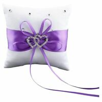Double-Heart Rhinestone Wedding Ring Pillow Cushion Bearer, Purple M5C2