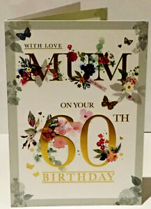 60TH MUM Birthday Card - Age 60 - Verse - 9 x 6.25 Inches - Words and Wishes