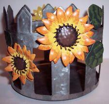 New! Kohl's Sonoma Galvanized Farmhouse Sunflower Fence Candle Holder Sleeve