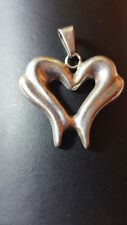 Big vintage 925 sterling silver heart pendant. Mexico