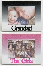 Glitter Glass Mirror Words Photo Frames The Girls, Grandad, Modern Design 5 x 3