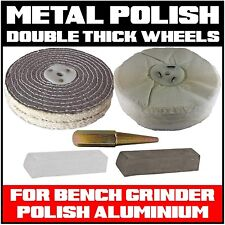 METAL POLISHING KIT FOR BENCH GRINDER BUFFING (DOUBLE THICK WHEELS) ALUMINIUM