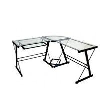 Corner Desk Glass Table Office Studio Furniture Student Computer L Shape Black A
