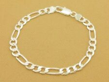 Sale! Men/Women Flat Diamond-Cut Figaro Bracelet Link Chain Silver Plated,4mm 8""