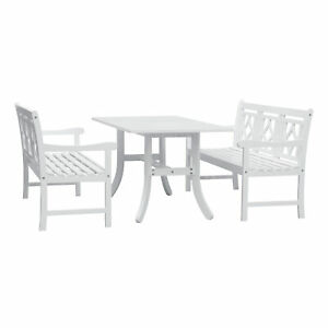 Vifah Bradley Outdoor 3-piece Wood Patio Curvy Legs Table Dining Set
