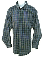 Roundtree & Yorke Shirt Mens 2XL Easy Care LS Button Up Blue Check Cotton Blend