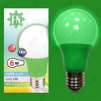 1x 6W LED Green Coloured GLS A60 Light Bulb Lamp ES E27, Low Energy 110 - 265V