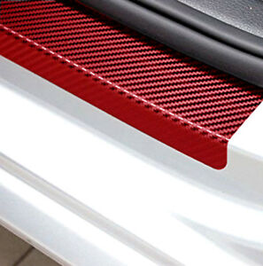4x Red 3D Carbon Fiber Look Car Door Plate Sill Scuff Cover Anti-Scratch Sticker
