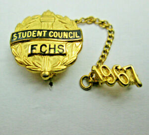 Vintage 1967 Student Council FCHS Tie Tack Lapel Pin with Chain