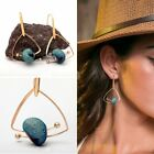 Women Simple Gold Plated Natural Stone Geometry Dangle Hook Earrings Jewelry New