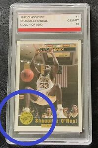 1992 Classic Draft Gold Shaquille O'Neal RC # 1 Noble Grading Gem Mint 10 /8500