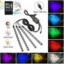 Interior Car Lights,4pcs 48 USB Car LED Strip Lights,MultiColor Music LED Light