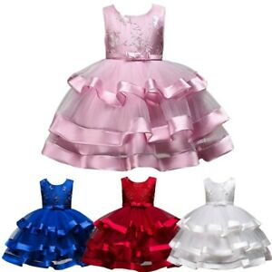 Kids Girls Multi Layer Tulle Dress Birthday Party Wedding Bowknot Princess Gown