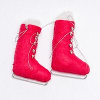 Unique Vintage Handmade Reddish Pink Felt Ice Skates Pair Christmas Ornament