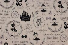 KOKKA Canvas Baumwollstoff Trefle Petit Etoile Ballett Schwan beige schwarz 1,10