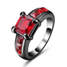 Vintage Square Red Ruby Wedding Band Ring Women's 10KT Black Gold Filled Size 8