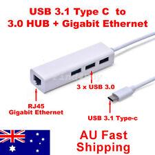 USB 3.1 Type C to RJ45 Gigabit Ethernet Adapter with 3 Port USB 3.0 HUB for MAC